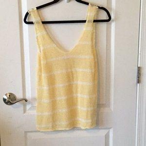 Zara yellow and white stripped tank top